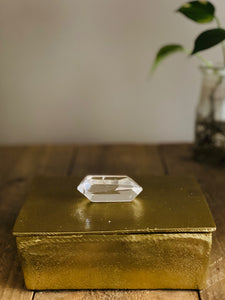 Gold trinket box with double terminated polished Quartz Crystal handle