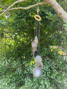 Natural Agate windchime - natural stone home decor or patio display