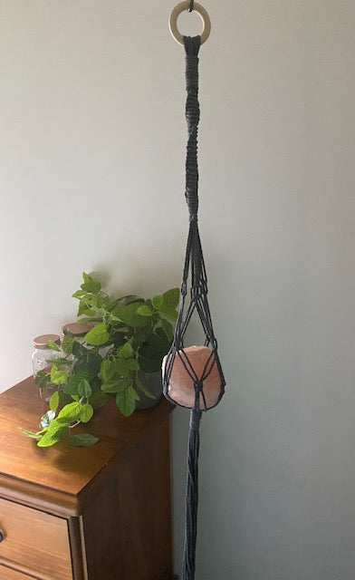 Grey Macrame wall hanging with Rose Quartz