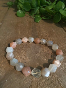 Apricot and Grey Moonstone bead bracelet