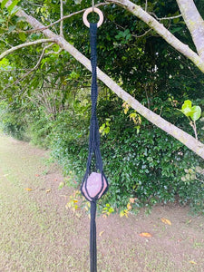 Black Macrame wall hanging with Rose Quartz