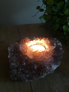 Amethyst crystal candle holder
