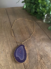 Load image into Gallery viewer, Purple Agate pendant with Gold Electroplating