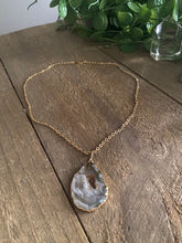 Load image into Gallery viewer, Natural Agate Geode pendant with Gold Electroplating