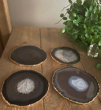 Load image into Gallery viewer, Natural polished Agate Slice coasters with Gold Electroplating - Set of 4
