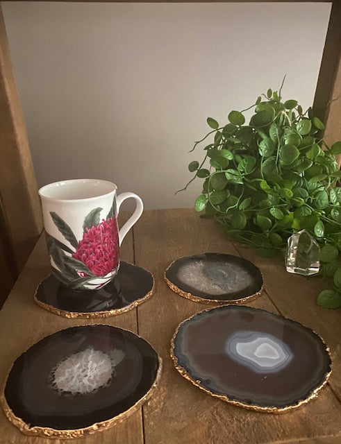Natural polished Agate Slice coasters with Gold Electroplating - Set of 4