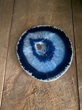 Load image into Gallery viewer, Blue polished Agate Slice coaster
