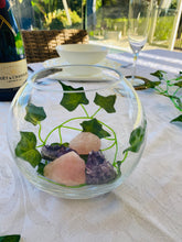 Load image into Gallery viewer, Glass bowl with Amethyst and Rose Quartz - table display, unique home decor