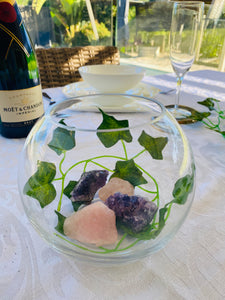 Glass bowl with Amethyst and Rose Quartz - table display, unique home decor