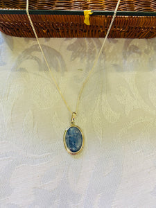 Kyanite pendant set in sterling silver - necklace