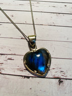 Labradorite heart shaped Stirling silver pendant - jewellery