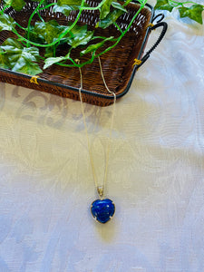 Lapis Lazuli heart shaped Stirling silver pendant - jewellery