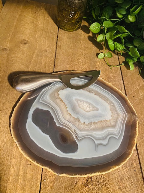 Large polished Natural Agate slice and cheese board
