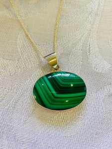 Malachite pendant set in sterling silver - necklace