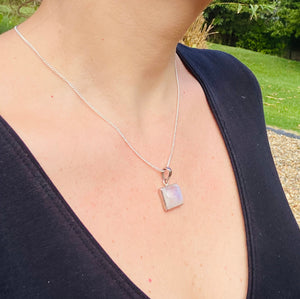 Moonstone sterling silver pendant - necklace