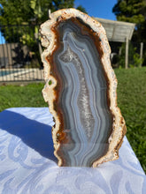 Load image into Gallery viewer, Natural Agate end - natural stone paper weight - home decor or unique office display AEMD0003