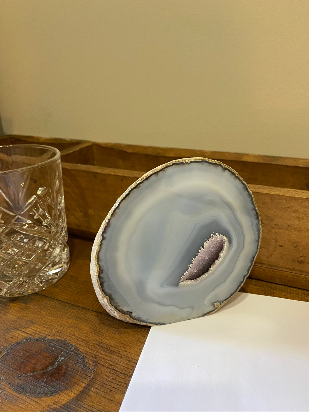 Natural Agate end - natural stone paper weight - home decor or unique office display AEMD0005