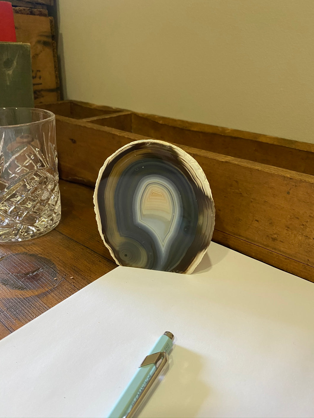 Natural Agate end - natural stone paper weight - home decor or unique office display AEMD0010