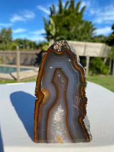 Natural Agate end - natural stone paper weight - home decor or unique office display AEMD0028