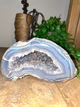 Load image into Gallery viewer, Free standing Natural Agate Geode with Quartz crystals inside - home decor or unique office display