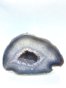 Free standing Natural Agate Geode with Quartz crystals inside - home decor or unique office display