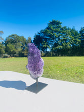 Load image into Gallery viewer, Natural Amethyst Crystal on black display stand -  home décor or unique table piece