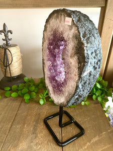 Natural Amethyst Crystal slice on black display stand -  home décor or unique table piece