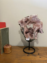 Load image into Gallery viewer, Natural Pink Amethyst Crystal slice on black display stand -  home décor or unique table piece