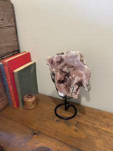 Natural Pink Amethyst Crystal slice on black display stand -  home décor or unique table piece