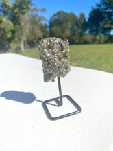 Load image into Gallery viewer, Natural Pyrite on black display stand -  home décor or unique table piece