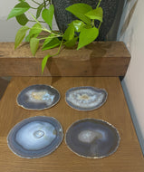 Natural polished Agate Slice drink coasters - Set of 4 12