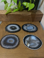 Natural polished Agate Slice drink coasters - Set of 4 15