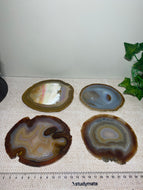 Natural polished Agate Slice drink coasters - Set of 4 16