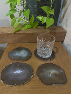 Natural polished Agate Slice drink coasters - Set of 4 17