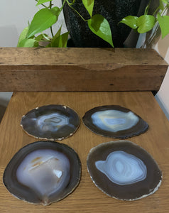 Natural polished Agate Slice drink coasters - Set of 4 20