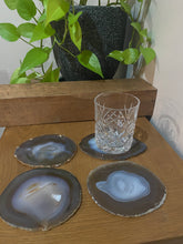 Load image into Gallery viewer, Natural polished Agate Slice drink coasters - Set of 4 20