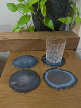 Load image into Gallery viewer, Natural polished Agate Slice drink coasters - Set of 4 22