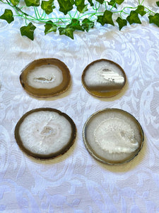 Natural polished Agate Slice drink coasters - Set of 4 NCMD00011