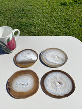 Load image into Gallery viewer, Natural polished Agate Slice drink coasters - Set of 4 NCMD00011