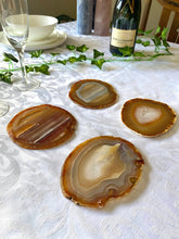 Load image into Gallery viewer, Natural polished Agate Slice drink coasters - Set of 4