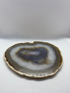 Natural polished Agate Slice drink coasters - single slice