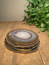 Load image into Gallery viewer, Natural polished agate slice drink coasters with gold electroplating