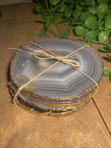 Natural polished agate slice drink coasters with gold electroplating