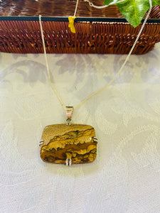 Picture Stone Jasper pendant set in sterling silver - necklace