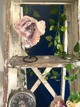 Load image into Gallery viewer, Pink Amethyst Crystal slice on black display stand -  home décor or unique table piece