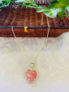 Rhondochrosite heart shaped sterling silver pendant - necklace