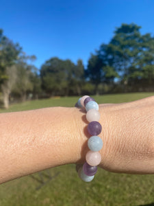 Rose Quartz, Amethyst and Aquamarine bead bracelet