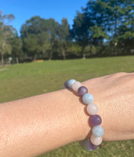 Load image into Gallery viewer, Rose Quartz, Amethyst and Aquamarine bead bracelet