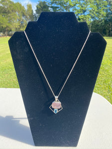 Rose Quartz and Blue Topaz sterling silver pendant - necklace
