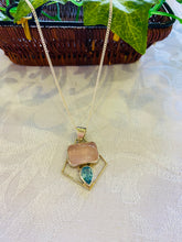 Load image into Gallery viewer, Rose Quartz and Blue Topaz sterling silver pendant - necklace